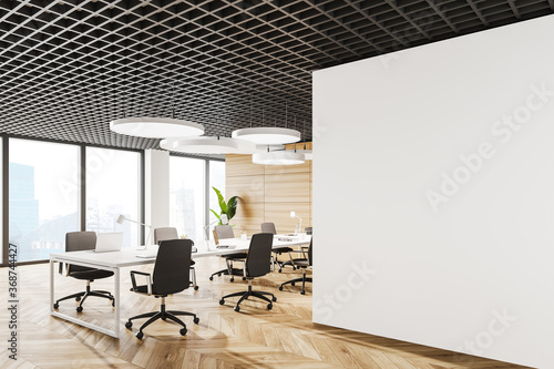 White open space office corner with mock up wall - 368744427