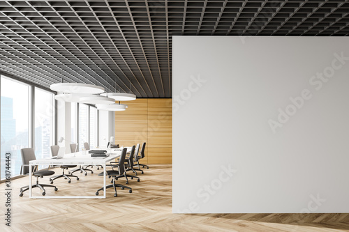 Obraz Wooden open space office with mock up wall - fototapety do salonu
