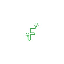 Letter F Logo Design Frog Foot...
