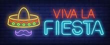 Viva La Fiesta Neon Text With ...