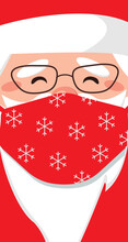 Portrait Of Santa Claus Wearing A Medical Protective Mask Against Coronavirus During Quarantine. Surgical Red Mask With Snowflake Pattern. Remote New Year And Christmas 2021. Vector Flat Illustration.