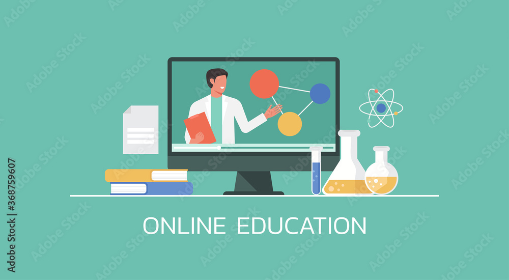 Fototapeta e-learning and online education concept, distance learning, professor connecting online science lesson via video website platform on computer, vector flat illustration