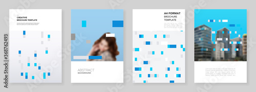 Fototapeta A4 brochure layout of covers design templates for flyer leaflet, A4 brochure design, report, presentation, magazine cover, book design. Abstract geometric pattern. Corporate identity business concept. obraz