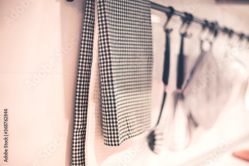Obraz Kitchen towel placed on hanger - fototapety do salonu