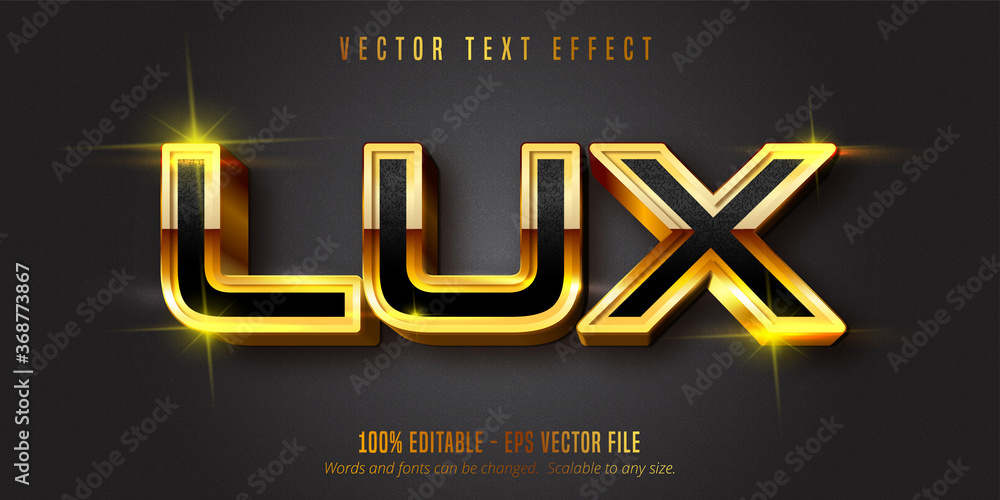Fototapeta Lux text, shiny gold style editable text effect