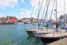 Sailing Boats In The Old Town Of Weymouth Harbour In Dorset, England, UK.
