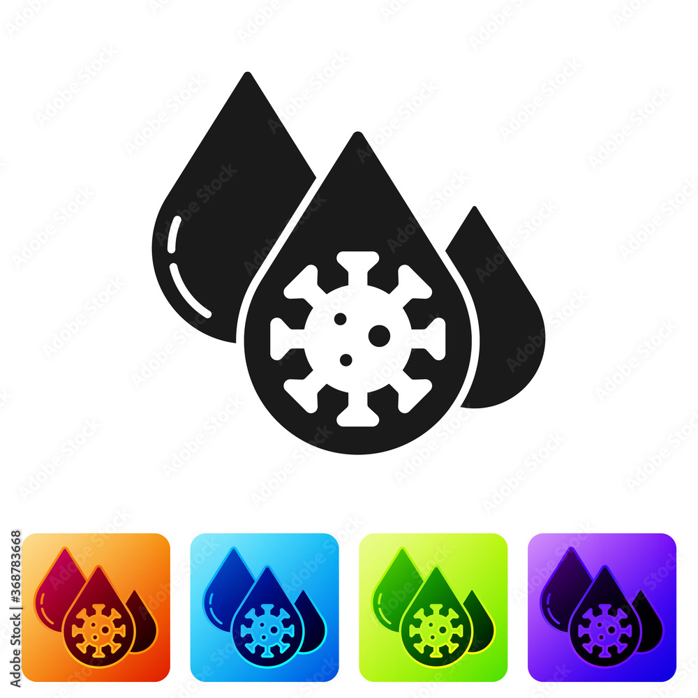 Fototapeta Black Blood test and virus molecule coronavirus icon isolated on white background. Coronavirus, COVID-19. 2019-nCoV. Set icons in color square buttons. Vector..