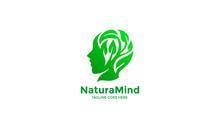 Human Nature Head Logo - Green Head Leaves Vector