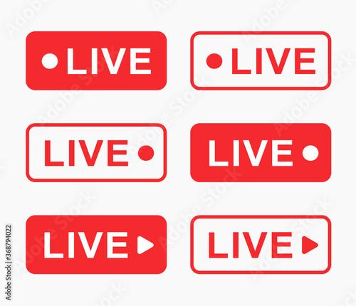 Fotografija Red live video stream vector icon button set for news broadcast