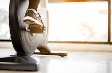 Close Up Foot Biking In Gym, E...