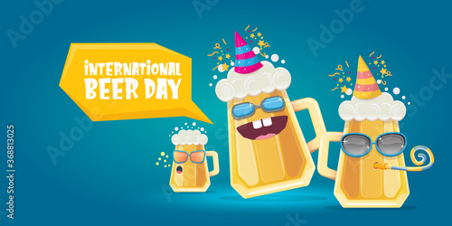 Obraz Happy international beer day horizonatal banner with cartoon funny beer glass friends characters with sunglasses isolated on blue background. International beer day cartoon comic poster - fototapety do salonu