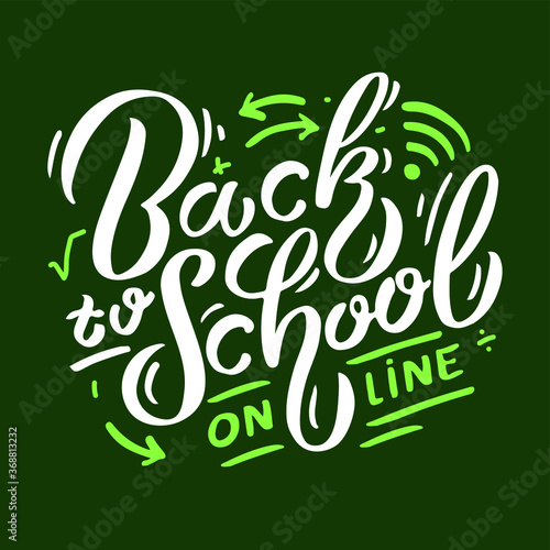 Fototapeta back to school online, lettering composition, vector illustration obraz