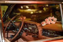 Interior Pink Retro Car Close Up