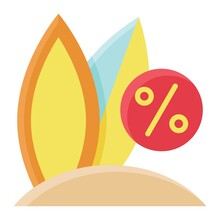 Surfboard On The Beach Icon, Summer Sale Related Vector