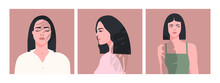 Set Of Beautiful Ladies In A Minimalist Style. Flat Vector Illustration.