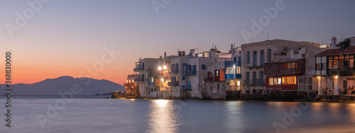 View of the famous pictorial Little Venice bay of Mykonos town in Mykonos island Fototapete