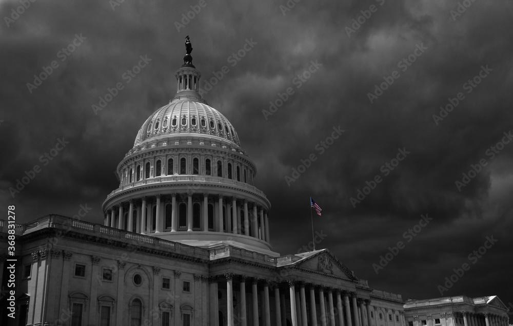 Fototapeta Dark storm clouds above the US Capitol in Washington DC