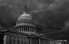 Dark Storm Clouds Above The US Capitol In Washington DC