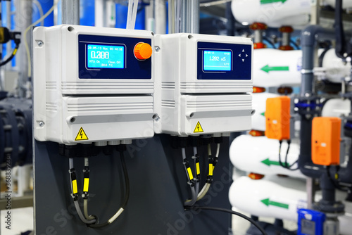 Obraz Control unit of a set of water quality control in industrial water treatment boiler room - fototapety do salonu