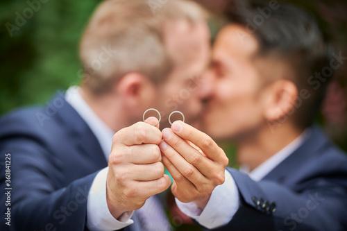 Fototapeta LGBTQ wedding love is love , same sex wedding  obraz
