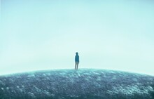 Man Alone With The Grass Field,  Surreal Painting Artwork, Loneliness And Hope Concept Art