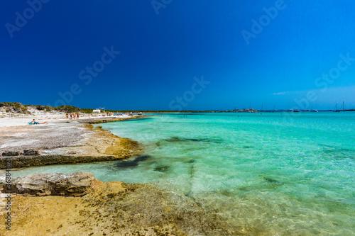 Leinwand Poster Majorca Es Trenc ses Arenes beach in Balearic Islands, Spain, July 2020