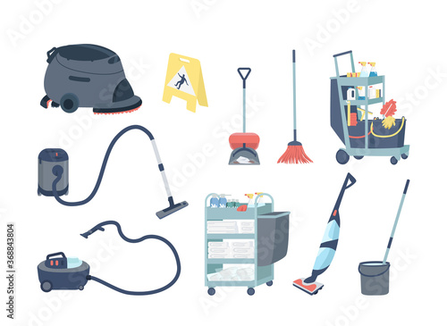 Fotografija Janitorial supplies flat color vector objects set