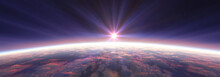 Earth Sunrise From Space Over ...