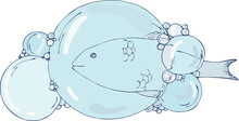 Vector Illustration Large And Small Bubbles From The Water Through Which Fish Can Be Seen,doodle