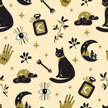 Seamless Pattern With Magic Icons For Halloween Holiday