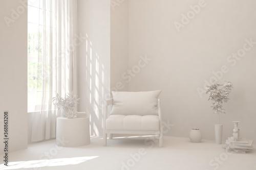 Obraz White room with armchair. Scandinavian interior design. 3D illustration - fototapety do salonu