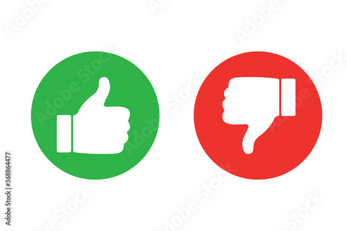 Cuadros en Lienzo Thumbs up and thumb down icon set