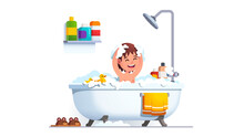 Kid Having Bath Washing Head A...