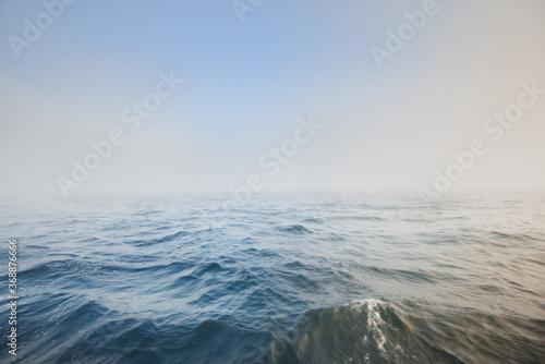 Obraz na plátně Baltic sea in a morning fog at sunrise, Sweden