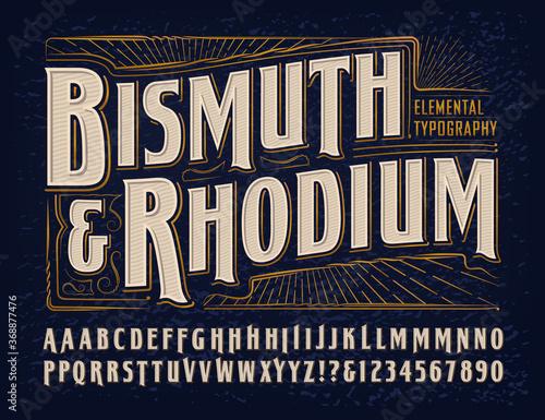 Vector Font Alphabet; Bismuth & Rhodium Elemental Typography Design Fototapeta