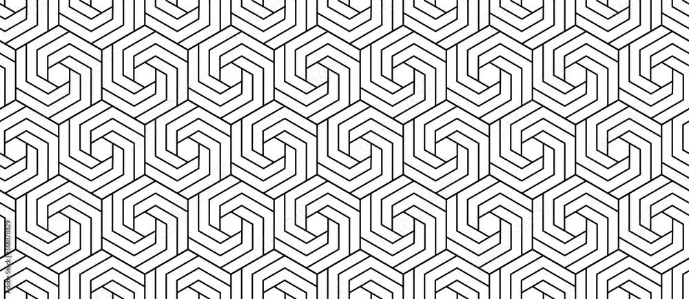 Fototapeta Vector seamless swirl hexagon pattern. Modern stylish thin linear texture.