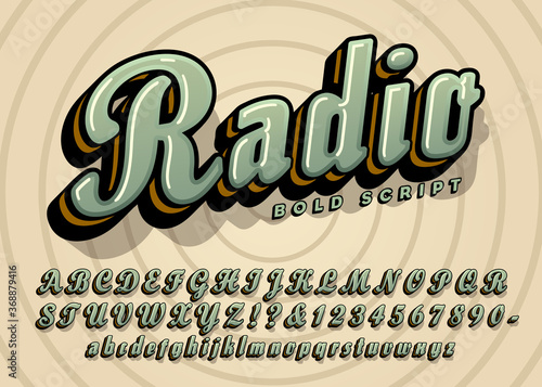 Radio Bold Cursive Script Alphabet Design; This Vector Font Has a Vintage or Retro Quality Suggesting the Golden Age of Radio Canvas Print