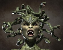 The Horrid Gorgon Medusa. 3d Illustration