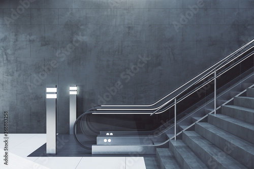 Modern subway station with escalator Canvas Print