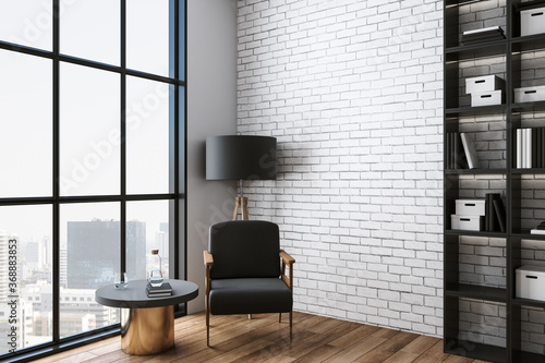 Cozy living room with chair, table, shelf with book and city view Tapéta, Fotótapéta