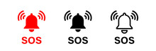SOS Bell Icon. Vector Isolated Emergency Alarm Help Sign Symbol. SOS Signal. Stock Vector.