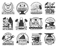 Blacksmith, Metal Or Iron Work Vector Icons With Metalworking Tools. Anvils, Forge Hammers And Sladgehammers, Horseshoes, Chain And Tongs, Calipers, Vintage Hand Bellows And Forging Furnace