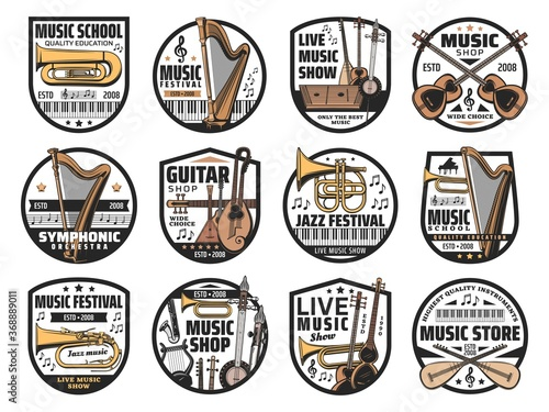Musical instruments and notes, music vector icons Wallpaper Mural