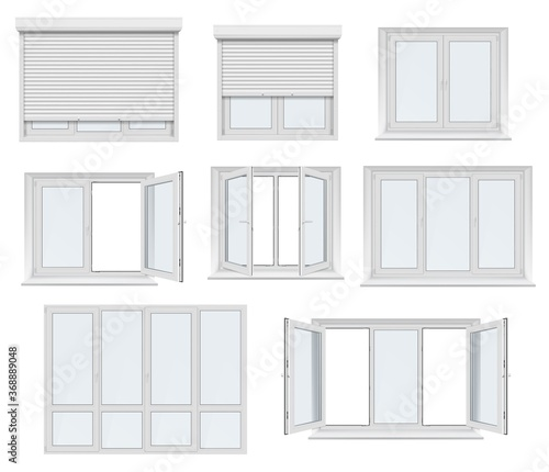 Obraz Plastic window and door with roller shutter isolated vector mockup. Realistic white windows and doors with metal rolling blinds, glass panels and PVC frame profiles, 3d design of architecture elements - fototapety do salonu