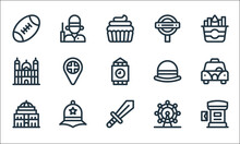 England Line Icons. Linear Set. Quality Vector Line Set Such As Postbox, Sword, Royal Albert Hall, Ferris Wheel, Police Hat, Cathedral, Bowler Hat, Underground, Guard.