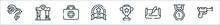 Videogame Elements Line Icons. Linear Set. Quality Vector Line Set Such As Weapon, Medal, Letter, Trophy, Bonus, Medicine, Gate.