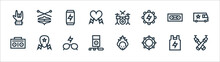 Rock And Roll Line Icons. Linear Set. Quality Vector Line Set Such As Spotlight, Bracelet, Mp Player, Boombox, Cassette Tape, Energy Drink, Drum Set, Hi Hat.