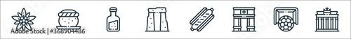Obraz europe line icons. linear set. quality vector line set such as brandenburg gate, soccer, arc de triomphe, sausage, stonehenge, orujo, semla. - fototapety do salonu