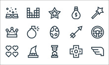 Video Game Elements Line Icons. Linear Set. Quality Vector Line Set Such As Wings, Hourglass, Lives, Arrows, Witch Hat, Crown, Arrow, Money Bag, Video Game.