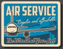 Air Service Vector Design Of Air Travel And Passenger Transportation. Airport Terminal Traffic Control Tower And Airline Airplane Or Plane Poster, International Flight, Aircraft And Aviation Themes